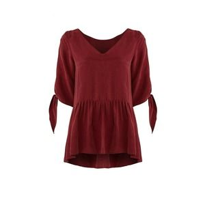 Paper Crown Tie Cuff Top L Slit Sleeve V-Neck Red